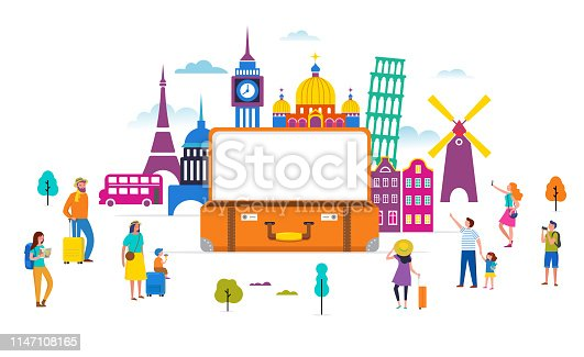 Travel, tourism, adventure scene with open suitcase, famous landmarks and miniature people, modern flat style. Vector illustration template