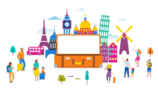 travel, tourism, adventure scene with open suitcase, famous landmarks and miniature people, modern flat style. vector illustration - tourism stock illustrations