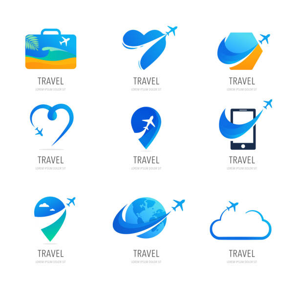 Travel, tourism agency logo design, icons and symbols Travel, tourism agency logo design, icons and symbols collection travel agents stock illustrations