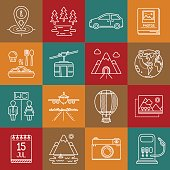 Travel, tourism and camping lineart minimal vector iconset on multicolor checkered texture