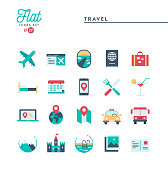 Travel, tourism, hotel, sightseeing and more, flat icons set