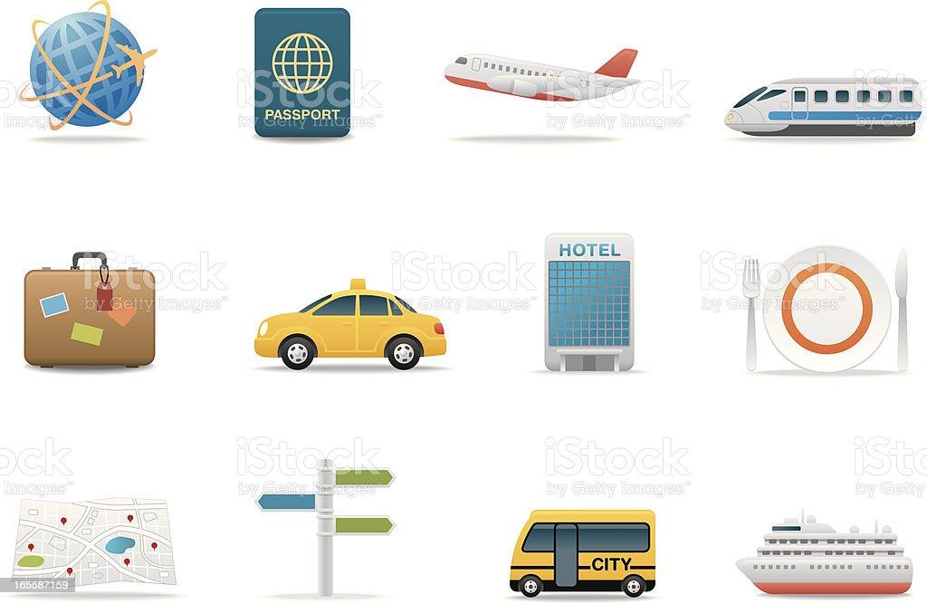 Travel & Tourism icons | Premium Matte series royalty-free stock vector art