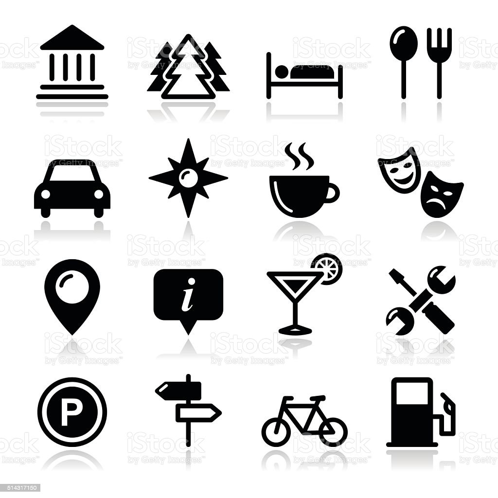 Tourisme voyage icônes set-Illustration - Illustration vectorielle