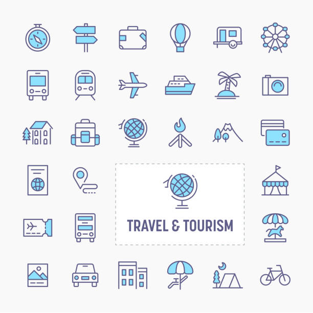 Travel & Tourism Minimal Icon Set vector art illustration