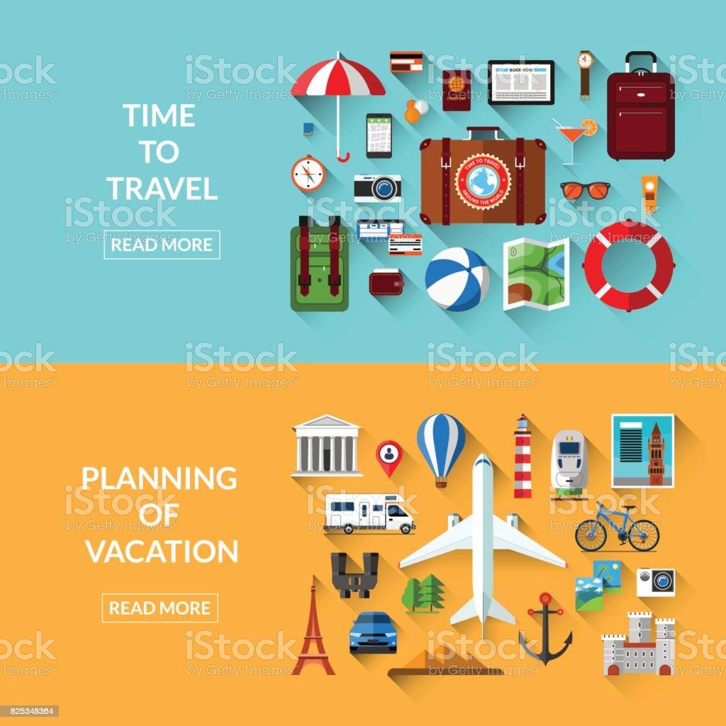 Reisen, Tourismus, Planung von Urlaub, Abenteuer, Reise im Urlaub. Satz von Web-Bannern in flachen Stil. Vektor-Illustration. Gegenstände und Objekte zu reisen. Anreise mit Flugzeug, Auto, Bahn, Fahrrad, Wohnmobil – Vektorgrafik