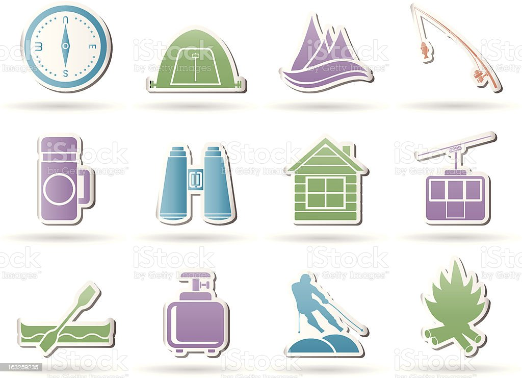 Travel, Tourism, vacation and mountain objects royalty-free stock vector art