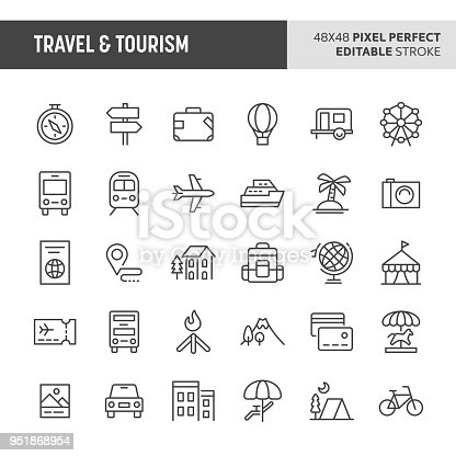 30 thin line icons associated with travel and tourism with symbols such as accommodation, transportation and tourism sites are included in this set. 48x48 pixel perfect vector icon with editable stroke.