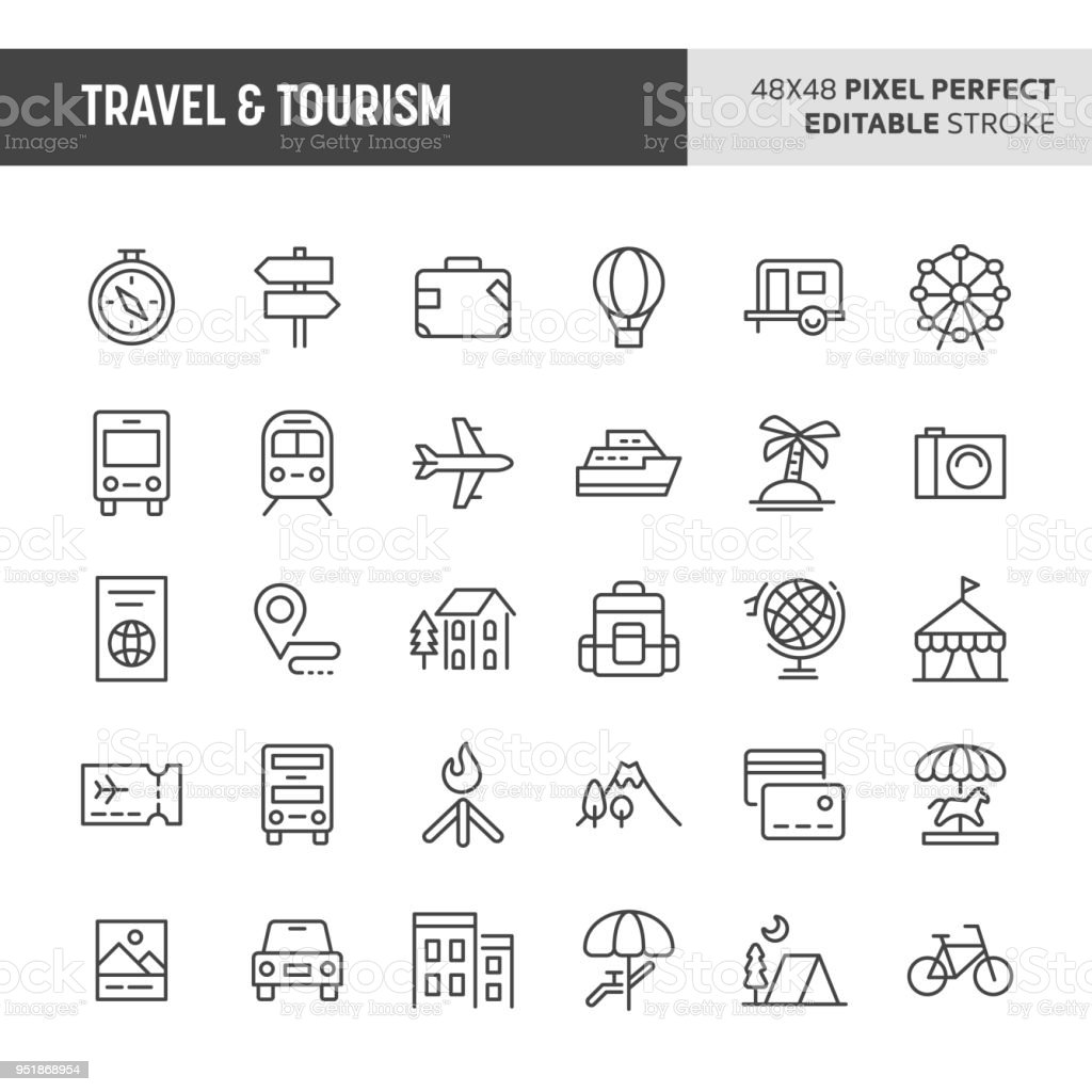 Travel & Tourism Vector Icon Set vector art illustration