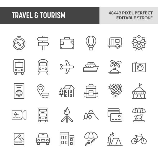 Travel & Tourism Vector Icon Set 30 thin line icons associated with travel and tourism with symbols such as accommodation, transportation and tourism sites are included in this set. 48x48 pixel perfect vector icon with editable stroke. airplane symbols stock illustrations