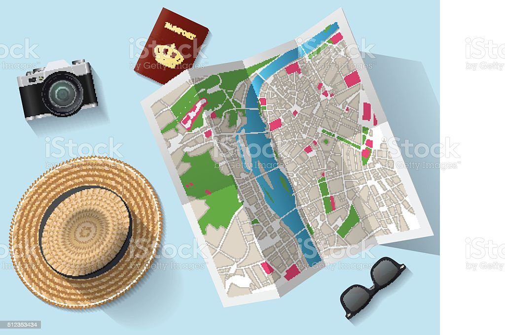 Travel - tourist map and other equipment vector art illustration