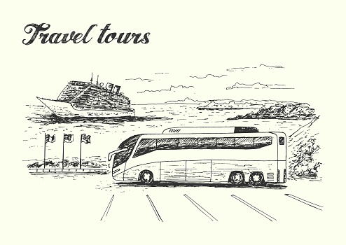Travel tours scene with bus and cruise ship on background sketch style