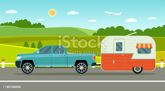 Travel trailer and pickup truck. Summer landscape. Vacation poster concept. Flat style vector illustration