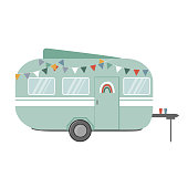 istock Travel trailer flat icon, vector illustration. Design element for camping backgrounds 1321530095