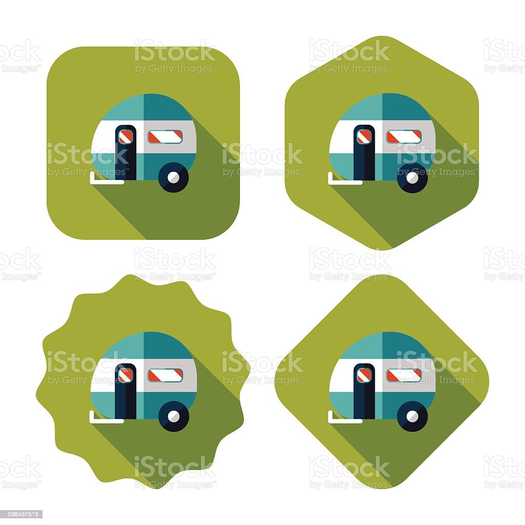 Travel trailer flat icon with long shadow vector art illustration