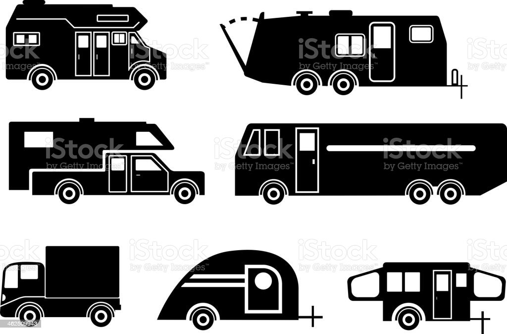 Travel Trailer Icon Set vector art illustration