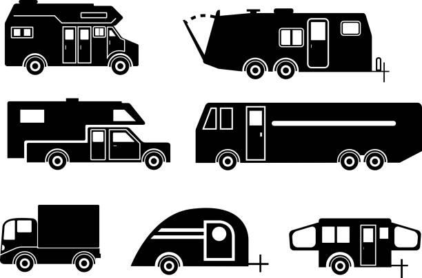 travel trailer icon-set - campinganhänger stock-grafiken, -clipart, -cartoons und -symbole