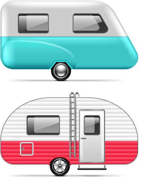 wohnwagen auf weiße vektor isoliert - wohnwagenanhänger stock-grafiken, -clipart, -cartoons und -symbole
