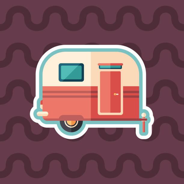 stockillustraties, clipart, cartoons en iconen met reizen aanhangwagen sticker platte pictogram met achtergrond in kleur. - caravan