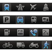 Travel & Transportation Toolbar Icons