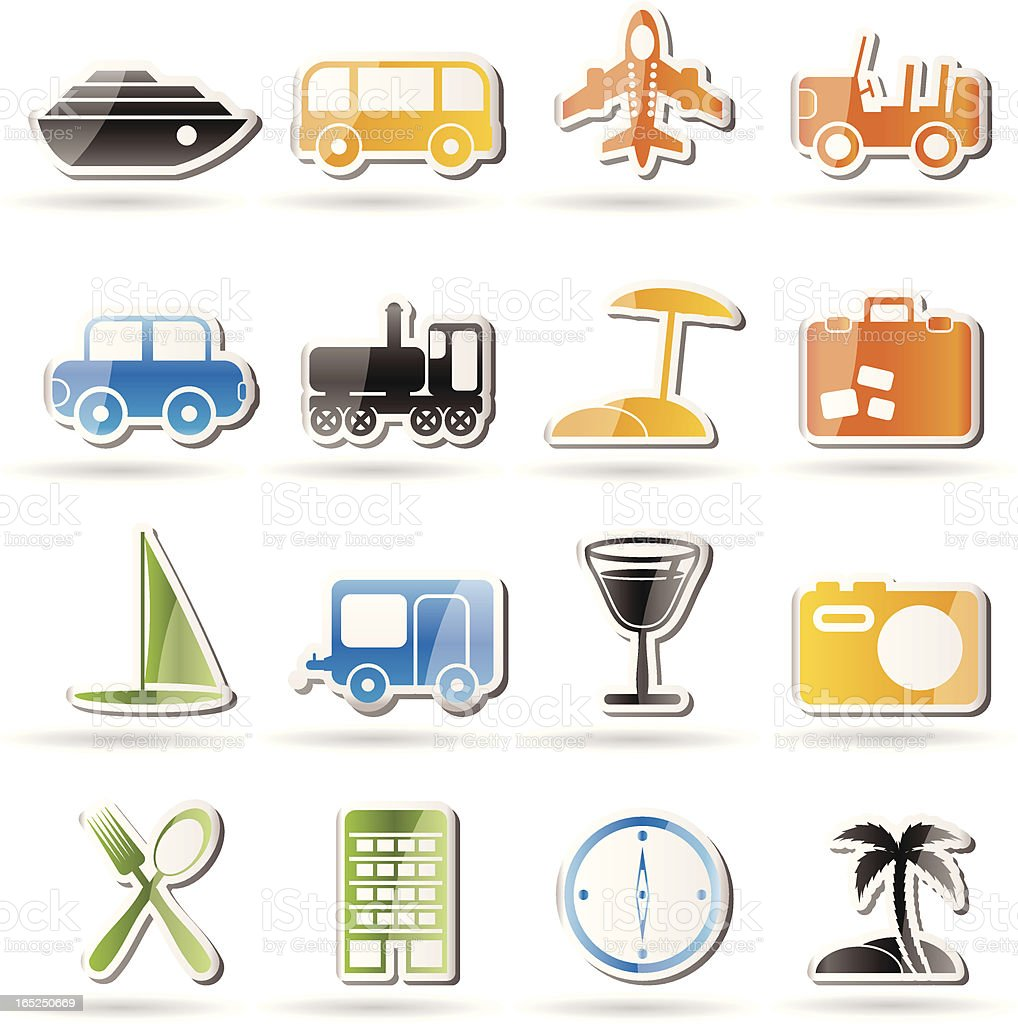 Travel, transportation, tourism and holiday icons royalty-free stock vector art