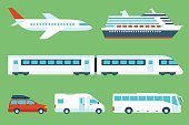 Vector set of travel transportation: airplane, cruise liner, train, car, camping car, bus. Side view. Flat style.
