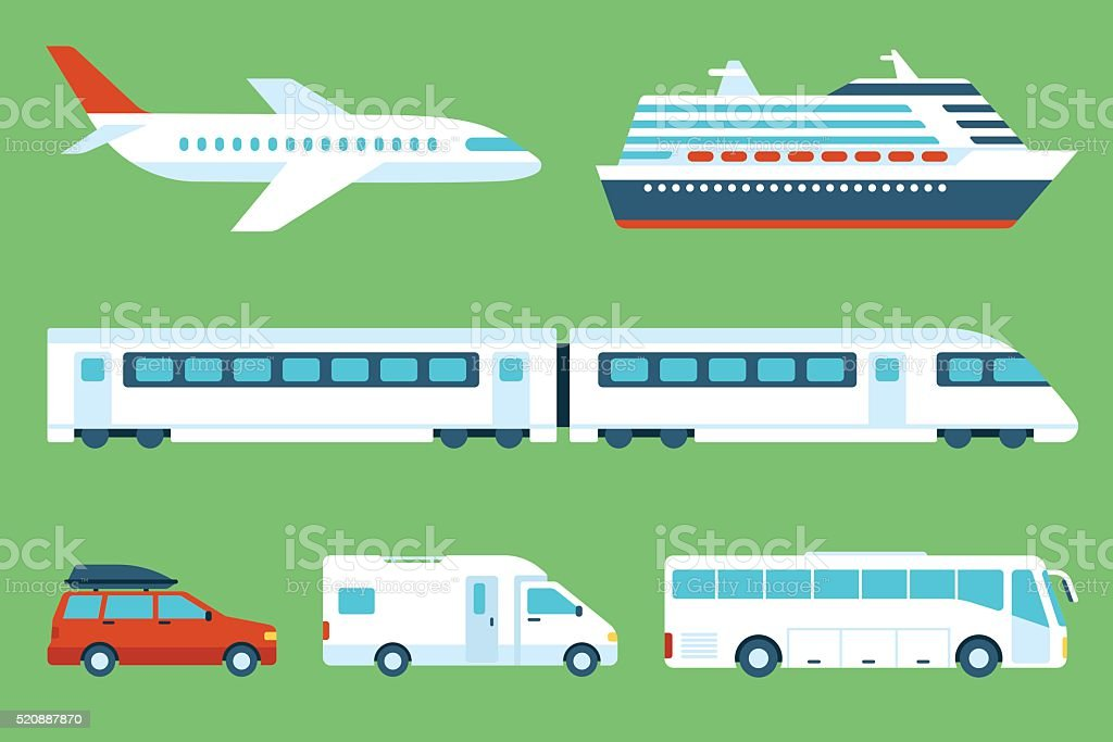 Travel transportation vector art illustration