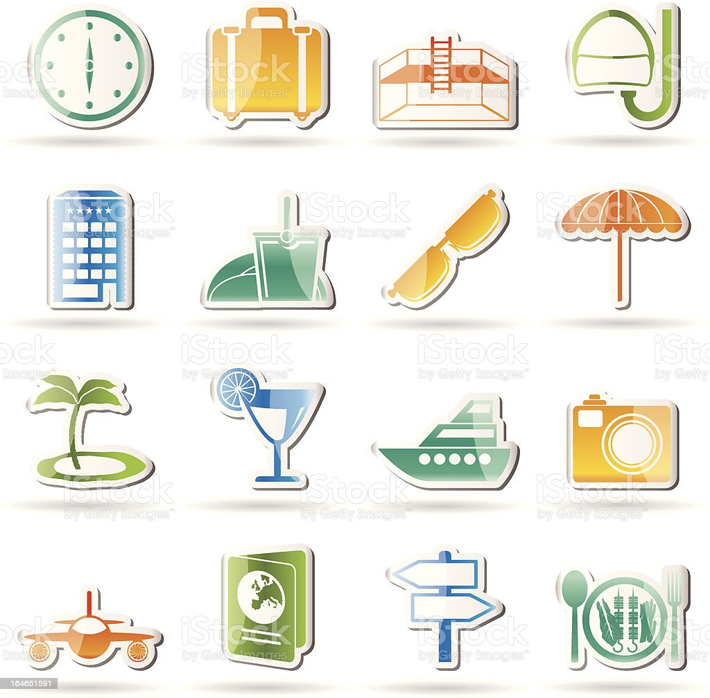travel, trip and tourism icons royalty-free stock vector art