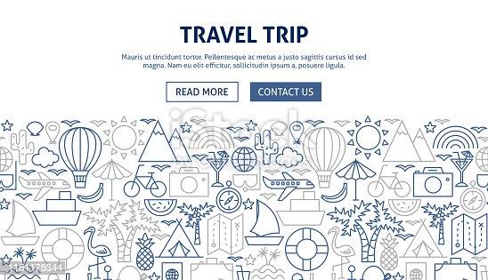 Travel Trip Banner Design. Vector Illustration of Line Website Design.