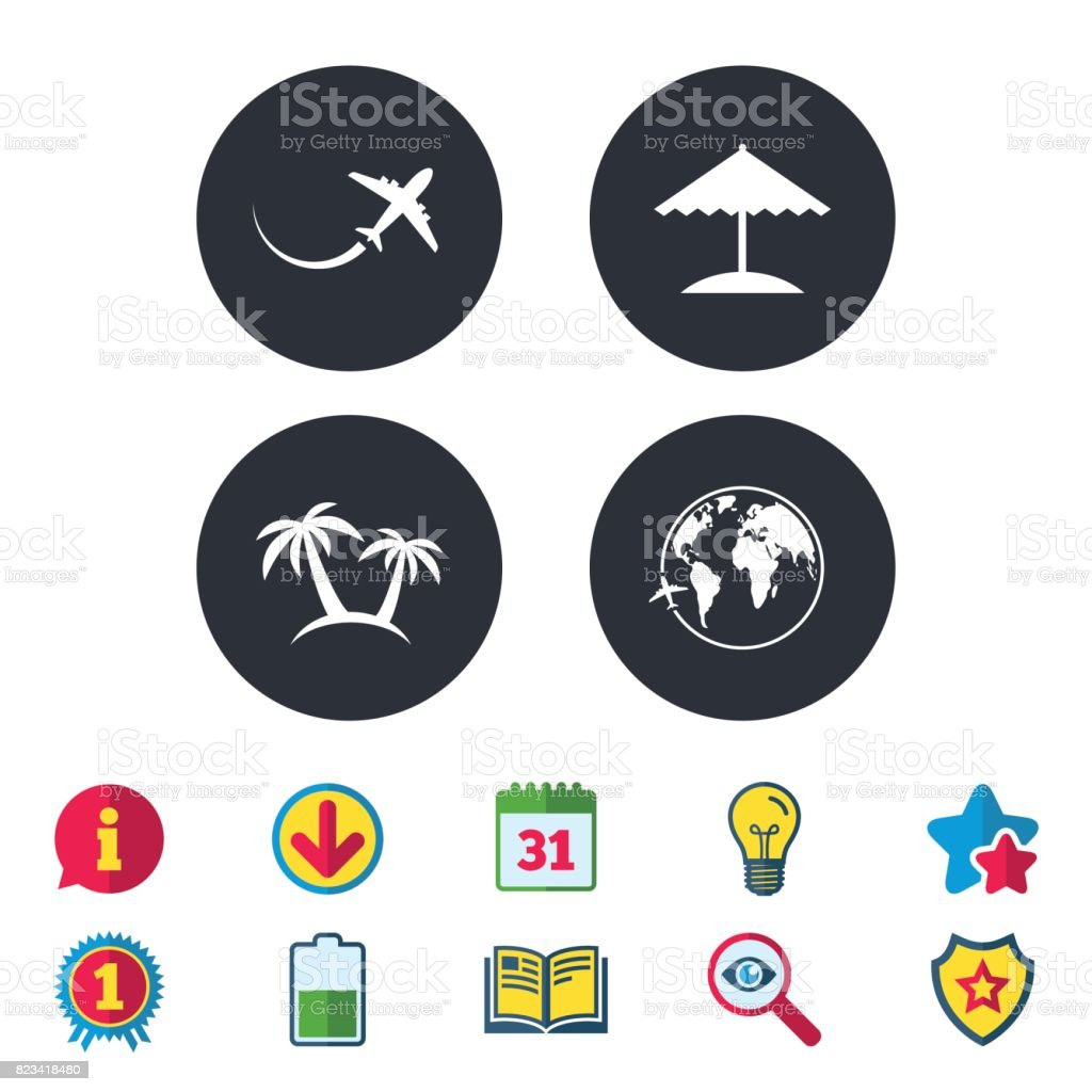 Travel Trip Icon Airplane World Globe Symbols Stock