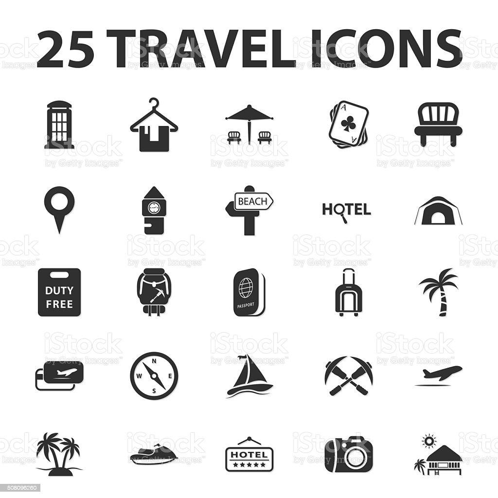 Reisen Urlaub 25 Schwarz Einfache Symbole Satz Für Web Stock Vektor ...