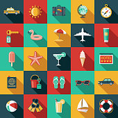 A set of flat design styled travel and vacation icons with a long side shadow. Color swatches are global so it's easy to edit and change the colors. File is built in the CMYK color space for optimal printing.
