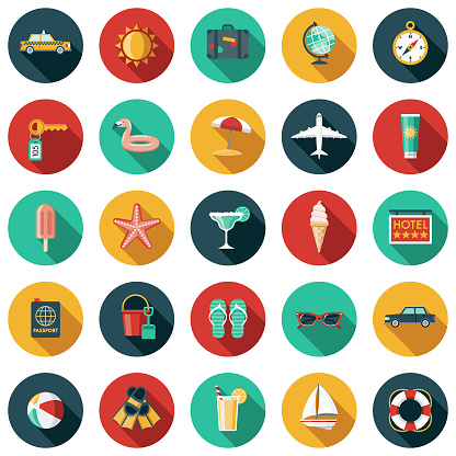 Travel & Vacation Flat Design Icon Set