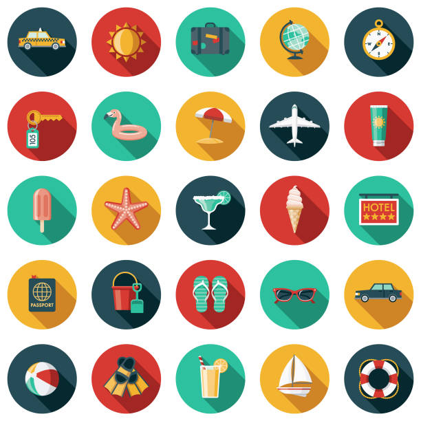 Travel & Vacation Flat Design Icon Set vector art illustration