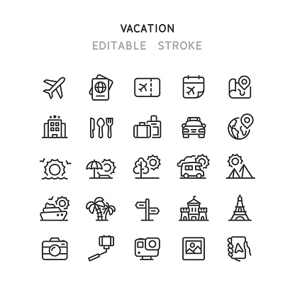Travel & Vacation Line Icons Editable Stroke