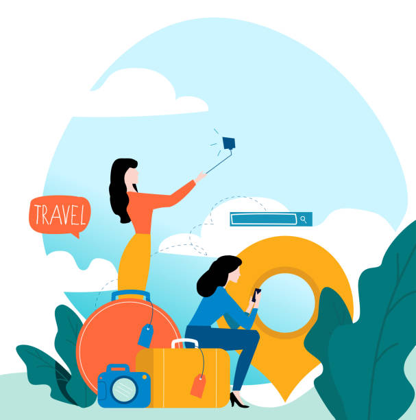 Travel, vacation, people travelling, summer holiday, passengers with baggage vector art illustration