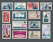Travel, vacation, postage stamp with architecture and world landmarks
