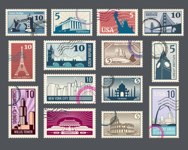 ilustraciones, imágenes clip art, dibujos animados e iconos de stock de travel, vacation, postage stamp with architecture and world landmarks - postal worker