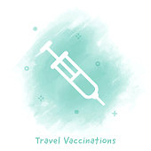 Vector syringe line icon over watercolor background.