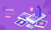 Travel concept template. Can use for web banner, infographics, hero images. Flat isometric vector illustration isolated on white background.