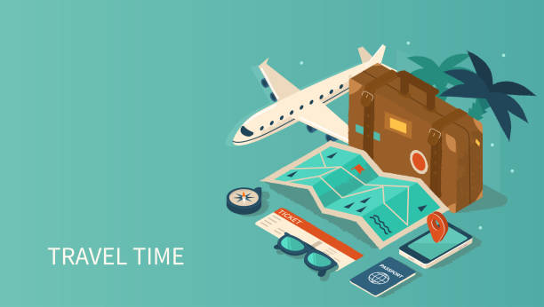 travel Travel and tourism booking concept template. Can use for web banner, infographics, hero images. Flat isometric vector illustration isolated on white background. travel stock illustrations
