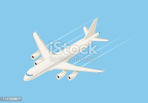 Vector isometric plane flying.