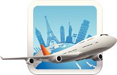 an editable vector banner design with some of famous place of the world and a plane.