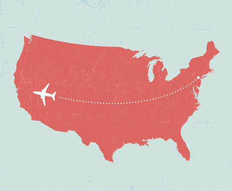 Vintage-style concept of U.S. travel, featuring a plane flying over the country from New York to San Francisco. Includes a version without the background texture.
