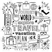Travel themed (doodle) hand-drawn illustration.