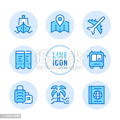 Travel vector line icons set. Map, ship, bus trip, beach, flight tickets outline symbols. Linear, thin line style. Modern simple stroke outline graphic elements for web design, websites, mobile app. Round icons