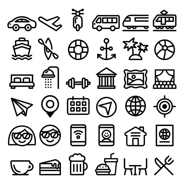 illustrazioni stock, clip art, cartoni animati e icone di tendenza di travel vector line icons set, transport, holidays , entertainment minimalist design - big pack - galateo a tavola