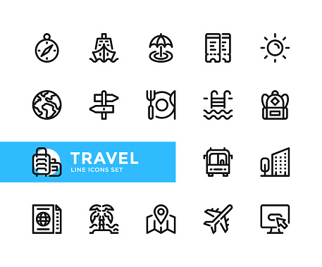 Travel vector line icons. Simple set of outline symbols, modern linear graphic design elements. Travel icons set. Pixel Perfect