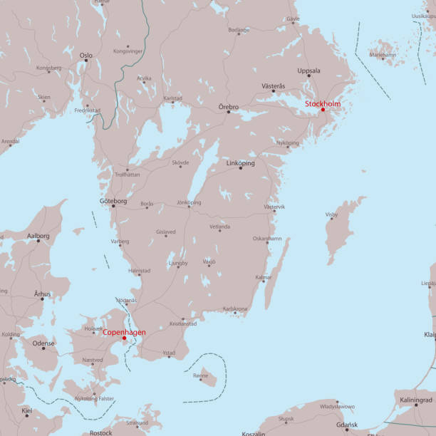 bildbanksillustrationer, clip art samt tecknat material och ikoner med travel vector karta stockholm köpenhamn - stockholm overview