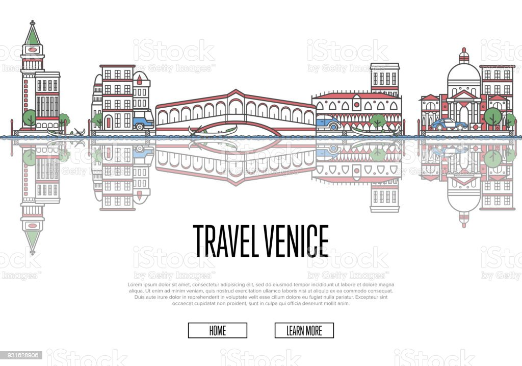 Travel Venice poster in linear style vector art illustration
