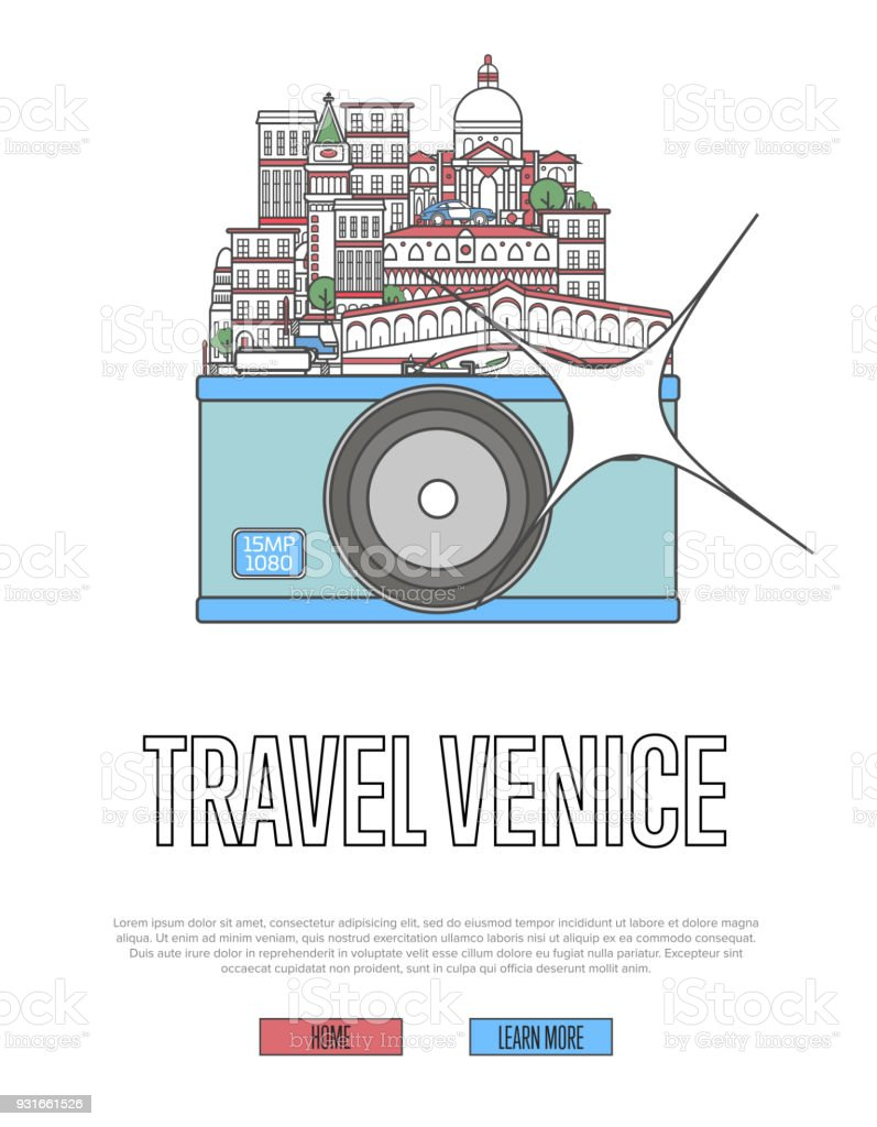 Travel Venice poster with camera vector art illustration